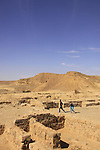 Israel, Negev desert, ruins of the Nabatean Khan Saharonim in Ramon crater