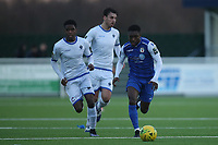 Ade Cole of Grays and Johnathan Nzengo of Romfordduring Grays Athletic vs Romford, Bostik League Division 1 North Football at Parkside on 1st January 2018