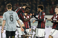 Calcio, quarti di finale di Coppa Italia: Alessandria vs Milan. Torino, stadio Olimpico, 26 gennaio 2016.<br /> AC Milan's Mario Balotelli, center, celebrates with teammates after scoring on a penalty kick during the Italian Cup semifinal first leg football match between Alessandria and AC Milan at Turin's Olympic stadium, 26 January 2016.<br /> UPDATE IMAGES PRESS/Isabella Bonotto