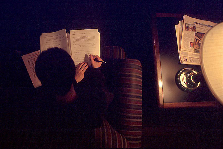 David West, a junior from Little Hocking, studies Japanese in the Front Room Campus Coffeehouse..Hanson Photo.