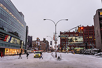 New York, USA -Despite predictions that Winter Storm Juno would drop 2 to 3 feet of snow, Manhattan only received a few inches. The travel ban by NYS Governow Cuomo and Mayor De Blasio for non-emergency traffic was lifted at approximately 8 am and public transit resumed on a limited schedule.  ©Stacy Walsh Rosenstock