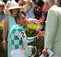 HALLANDALE BEACH, FL - APRIL 01: Jockey Paco Lopez accepts the award for jockey with the most wins during the 2017 Gulfstream Park Championship Meet. Scenes from Florida Derby Day at Gulfstream Park on April 01, 2017 in Hallandale Beach, Florida. (Photo by Carson Dennis/Eclipse Sportswire/Getty Images)