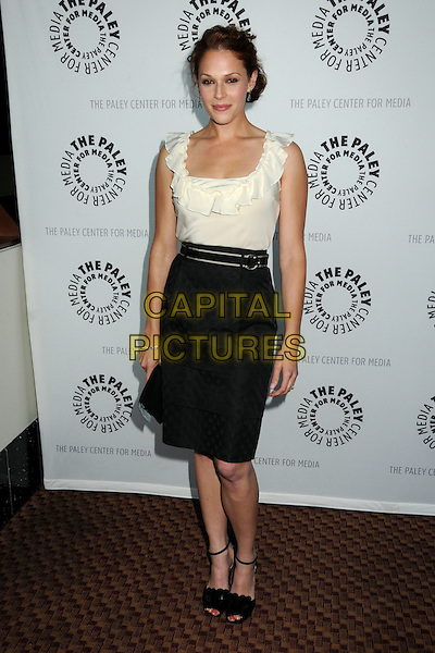 "AMANDA RIGHETTI .The 26th Annual William S. Paley Television Festival presents ""The Mentalist"" held at Arclight Cinemas,  Hollywood, CA, USA, 17th April 2009..full length white cream top black pencil skirt tucked in shoes sandals belt waist ruffle .CAP/ADM/BP.©Byron Purvis/Admedia/Capital Pictures"