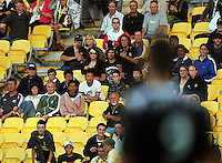 Phoenix fans look grim as a decision goes against the home side during the A-League match between Wellington Phoenix and Newcastle Jets at Westpac Stadium, Wellington, New Zealand on Sunday, 4 January 2009. Photo: Dave Lintott / lintottphoto.co.nz