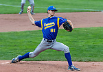 MIDDLETOWN, CT. 06 June 2018-060618BS502 - Seymour's Austin DeRosa (21) delivers a pitch from the mound during the CIAC Tournament Class M Semi-Final baseball game between Seymour and St Joseph at Palmer Field on Wednesday evening. Seymour beat St Joseph 8-0 and will play Wolcott for the Class M championship on Saturday. Bill Shettle Republican-American