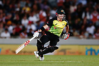 David Warner of Australia makes his runs. New Zealand Black Caps v Australia, Final of Trans-Tasman Twenty20 Tri-Series cricket. Eden Park, Auckland, New Zealand. Wednesday 21 February 2018. © Copyright Photo: Anthony Au-Yeung / www.photosport.nz