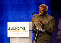 Archbishop Desmond Tutu speaks to the crowd during the US Soccer Foundation Gala held at City Center in Washington, DC.  Archbishop Tutu was honored with the Lifetime Achievement Award during this year's event.