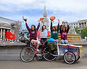 "The all-female HandleBards troupe pose for photos in Trafalgar Square, before setting off on their 1,000 mile journey from London to George Square in Edinburgh, stopping and performing at venues around the UK on the way. The women will join the group's already-established all-male troupe on the road, for the company's ""4 for 400""season - four Shakespeare plays, each performed by four actors, who will cycle to over 70 parks, castles, boats, gardens, cathedrals, bicycle yards and stately homes this summer. Picture shows (L to R): Elle Dillon Reams, Lianne Harvey, Lizzie Muncey, Lotte Tickner."
