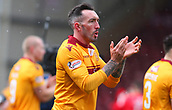 18th March 2018, Fir Park, Motherwell, Scotland; Scottish Premiership football, Motherwell versus Celtic;  Ryan Bowman appaluds the home fans after a tough game ended 0-0