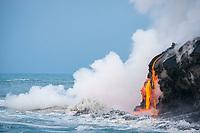 red hot lava from Kilauea Volcano enters the ocean in Puna, Hawaii Island ( the Big Island ), west of Kalapana, Hawaiian Islands, U