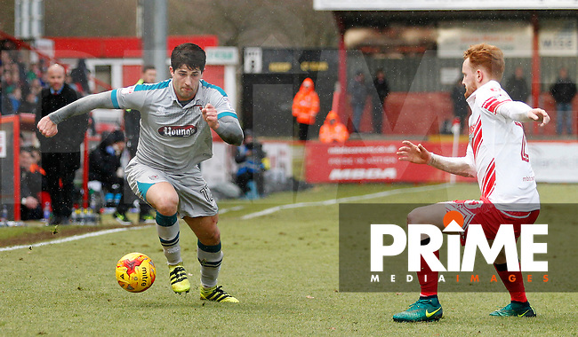 Grimsby's Zak Mills attacks the flanks during the Sky Bet League 2 match between Stevenage and Grimsby Town at the Lamex Stadium, Stevenage, England on 28 January 2017. Photo by Carlton Myrie / PRiME Media Images.