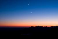 Dusk sky and moon from Caesar's Head