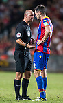 Crystal Palace defender Scott Dann (R) argues with referee Bobby Madley during the Premier League Asia Trophy match between Liverpool FC and Crystal Palace FC at Hong Kong Stadium on 19 July 2017, in Hong Kong, China. Photo by Yu Chun Christopher Wong / Power Sport Images