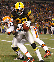 PITTSBURGH, PA - DECEMBER 08:  William Gay #22 of the Pittsburgh Steelers intercepts a pass in front of Mohamed Massaquoi #11 of the Cleveland Browns during the game on December 8, 2011 at Heinz Field in Pittsburgh, Pennsylvania.  (Photo by Jared Wickerham/Getty Images)