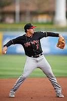 Josh Fuentes (7) of the Albuquerque Isotopes during the game against the Salt Lake Bees at Smith's Ballpark on April 5, 2018 in Salt Lake City, Utah. Salt Lake defeated Albuquerque 9-3. (Stephen Smith/Four Seam Images)