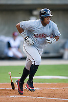 Dayan Viciedo #24 of the Birmingham Barons hustles down the first base line versus the Carolina Mudcats at Five County Stadium August 15, 2009 in Zebulon, North Carolina. (Photo by Brian Westerholt / Four Seam Images)