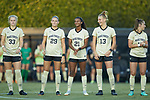 (L-R) Hannah Betfort (33), Kate Ravenna (29), Ryanne Brown (21), Oliwia Wos (13), and Estelle Laurier (10) during player introductions prior to the start of the match against the Tennessee Volunteers at W. Dennie Spry Stadium on the campus of Wake Forest University on August 23, 2018 in Winston-Salem, North Carolina.  The Demon Deacons and the Volunteers played to a 1-1 draw.