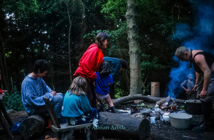 cooking a the main fire.  Tinker's Bubble, Low impact community,  Somerset