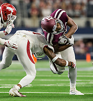 Hawgs Illustrated/Ben Goff<br /> Santos Ramirez, Arkansas free safety, tackles Jhamon Ausbon, Texas A&M wide receiver, in the the 2nd quarter vs Arkansas Saturday, Sept. 29, 2018, during the Southwest Classic at AT&T Stadium in Arlington, Texas.