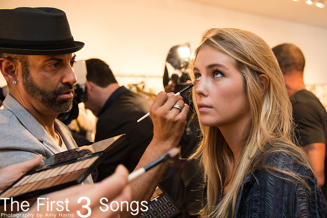 A general view of atmosphere backstage at the Elie Tahari presentation during Mercedes-Benz Fashion Week Spring 2015 in New York City.