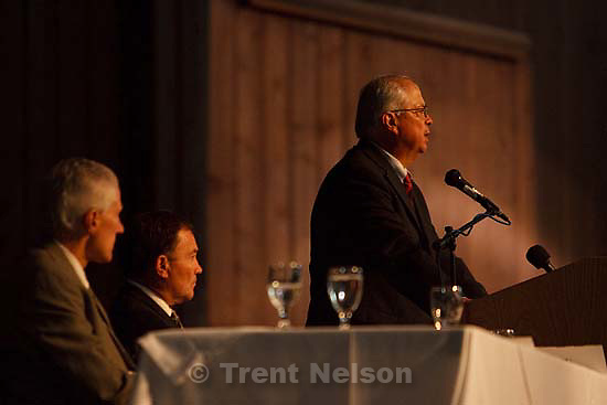 Thanksgiving Point - BIA director Larry EchoHawk, a former BYU law prof, speaks to governor, tribal leaders and others at the Native American Summit Wednesday, September 2 2009 at Thanksgiving Point. .