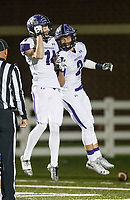 NWA Democrat-Gazette/BEN GOFF @NWABENGOFF<br /> Luke Charboneau (14) celebrates with Connor Flannigan, Fayetteville wide receivers, after Flannigan scored a touchdown on a catch in the second quarter vs Springdale Har-Ber Friday, Nov. 2, 2018, during the game at Wildcat Stadium in Springdale.