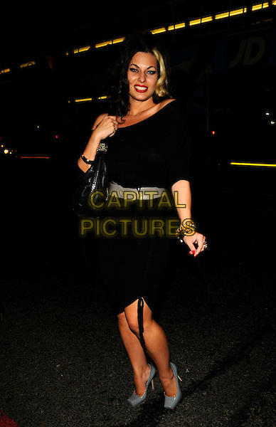 IMMODESTY BLAIZE.The Billionaire Boys Club / Ice Cream Season 7 VIP party, Harvey Nichols, London, England..June 18th, 2008.full length black off the shoulder dress grey gray shoes belt bag purse .CAP/CAN.©Can Nguyen/Capital Pictures.