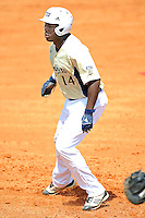 18 March 2012:  FIU outfielder Jabari Henry (14) takes a lead off of first base as the Florida Atlantic University Owls defeated the FIU Golden Panthers, 9-3, at University Park in Miami, Florida.