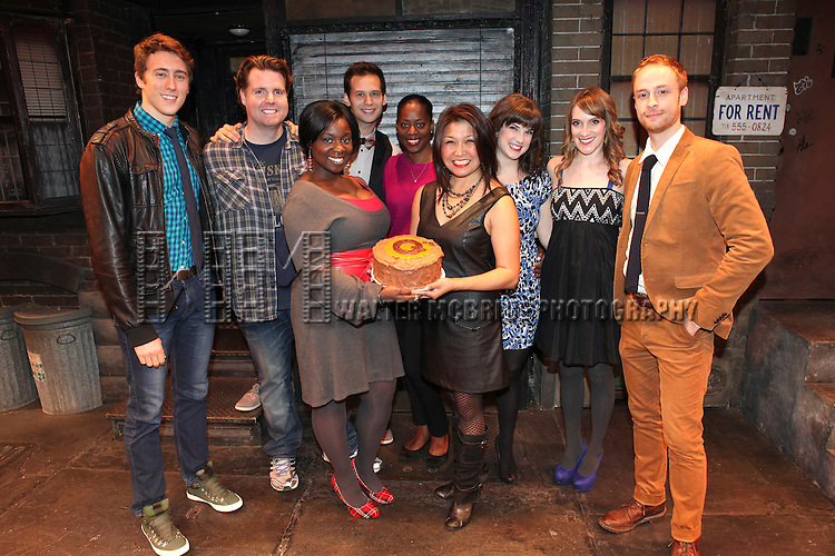 The cast of 'Avenue Q' (L to R) Darren Bluestone, Nicholas Kohn, Danielle K. Thomas, Jed Resnick, Robin S. Walker, Hazel Anne Raymundo, Veronica Kuehn, Kexy Fridell and Rob Morrison celebrating their 3rd Anniversary Off-Broadway at The World Stages on 10/22/2012 in New York City.