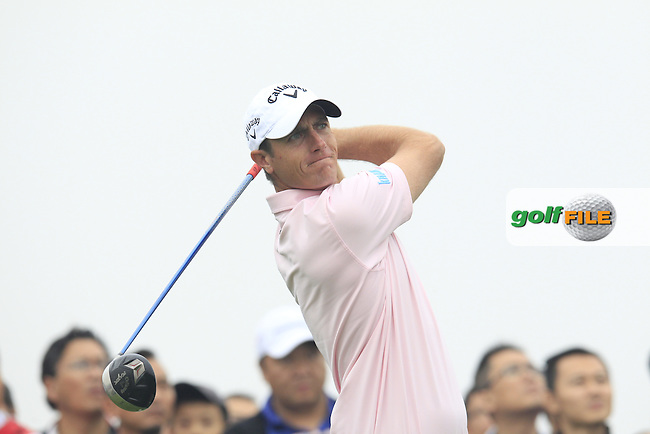 Nicolas Colsaerts (BEL) tees off the 15th tee during Saturay's Round 3 of the 2014 BMW Masters held at Lake Malaren, Shanghai, China. 1st November 2014.<br /> Picture: Eoin Clarke www.golffile.ie