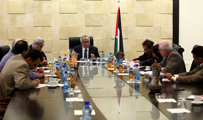 Palestinian prime minister Salam Fayyad, during a consultation meeting with Human Rights Associations about the formation of new government, in the West Bank City of Ramallah on Feb. 23, 2011. Photo by Mustafa Abu Dayeh