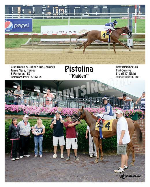 Pistolina winning at Delaware Park on 7/26/14