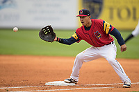 Toledo Mud Hens first baseman Efren Navarro (17) records an out at first against the Lehigh Valley IronPigs during the International League baseball game on April 30, 2017 at Fifth Third Field in Toledo, Ohio. Toledo defeated Lehigh Valley 6-4. (Andrew Woolley/Four Seam Images)