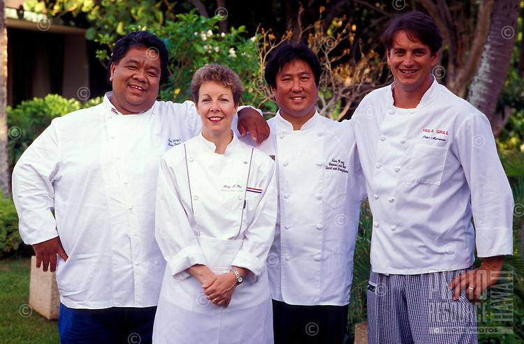 Chefs Sam Choy, Amy Ferguson-Ota, Alan Wong, Peter Merriman, four of the founding members of the Hawaii Regional Cusine movement