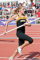 Missouri junior Heather Green sprints down the runway in the pole vault at the 2012 Big 12 Outdoor Track and Field Championships at R. V. Christian Track Complex at Kansas State University Saturday in Manhattan, Ks. Green, an All-State performer at Jefferson City High School, cleared a personal best of 13-0.75 to place 5th and earn All-Conference honors.
