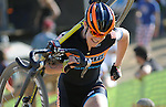 October 17, 2015 - Boulder, Colorado, U.S. - Elite cyclist, Beth Ann Orton, shoulders her bike for the long run-up during the U.S. Open of Cyclocross, Valmont Bike Park, Boulder, Colorado.