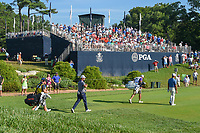 Shubhankar Sharma (IND) and Scott Piercy (USA) head down 12 during 1st round of the 100th PGA Championship at Bellerive Country Cllub, St. Louis, Missouri. 8/9/2018.<br /> Picture: Golffile | Ken Murray<br /> <br /> All photo usage must carry mandatory copyright credit (© Golffile | Ken Murray)