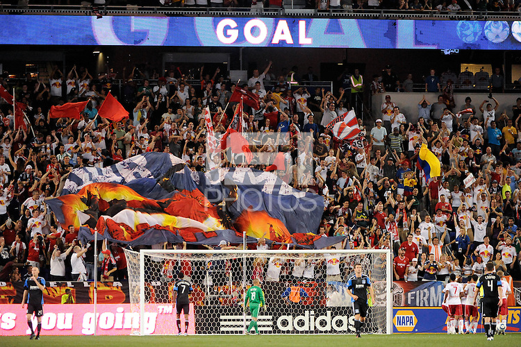 New York Red Bulls fans celebrate a goal. The New York Red Bulls defeated the San Jose Earthquakes 2-0 during a Major League Soccer (MLS) match at Red Bull Arena in Harrison, NJ, on August 28, 2010.