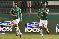 PALMIRA - COLOMBIA, 06-03-2020: Andres Balanta del Cali celebra después de anotar el primer gol de su equipo durante partido entre Deportivo Cali y Deportivo Pereira por la fecha 8 de la Liga BetPlay DIMAYOR I 2020 jugado en el estadio Deportivo Cali de la ciudad de Palmira. / Andres Balanta of Cali celebrates after scoring the first goal of his team during match between Deportivo Cali and Deportivo Pereira for the date 8 as part of BetPlay DIMAYOR League I 2020 played at Deportivo Cali stadium in Palmira city. Photo: VizzorImage / Gabriel Aponte / Staff