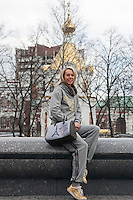 Krasnodar, Russia, 16/03/2009..World champion heptathlete Tatyana Chernova in front of a Russian Orthodox church in her home city of Krasnodar. Chernova, who won bronze in the Beijing Olympic Games, is tipped for gold in London.