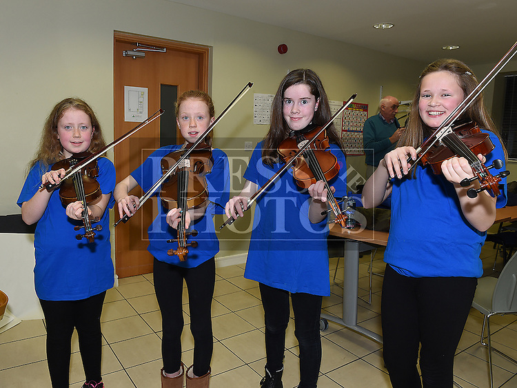 Eva Fox, Sarah Fox, Bairbre Logue and Aine Judge pictured at the Trad Na Samhna music show in the Barbican Centre. Photo:Colin Bell/pressphotos.ie