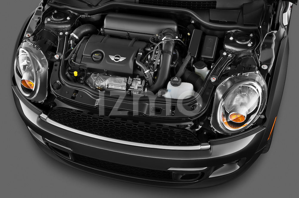 High angle engine detail of a 2011 Mini Cooper Clubman S .