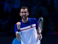 Marin Cilic of Croatia (5) in action against Alexander Zverev of Germany (3) in their Group Boris Becker match today<br /> <br /> Photographer Ashley Western/CameraSport<br /> <br /> International Tennis - Barclays ATP World Tour Finals - O2 Arena - London - Day 1 - Sunday 12th November 2017<br /> <br /> World Copyright &not;&copy; 2017 CameraSport. All rights reserved. 43 Linden Ave. Countesthorpe. Leicester. England. LE8 5PG - Tel: +44 (0) 116 277 4147 - admin@camerasport.com - www.camerasport.com