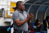 MANIZALES - COLOMBIA, 13-04-2019: Hubert Bodhert técnico del Once gesticula durante partido por la fecha 15 de la Liga Águila I 2019 entre Once Caldas y Jaguares de Córdoba F.C. jugado en el estadio Palogrande de la ciudad de Manizales. / Hubert Bodhert coach of Once Caldas gestures during match for the date 15 as part of Aguila League I 2019 between Once Caldas and Jaguares de Cordoba F.C. played at Palogrande stadium in Manizales. Photo: VizzorImage / Santiago Osorio / Cont