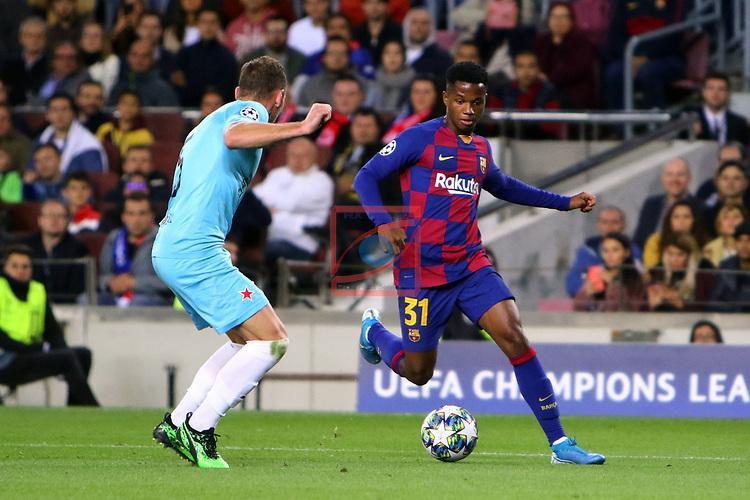 UEFA Champions League 2019/2020.<br /> Matchday 4.<br /> FC Barcelona vs SK Slavia Praha: 0-0.<br /> Ondrej Kudela vs Ansu Fati.