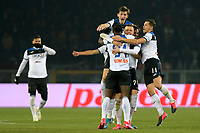 25th January 2020; Olympic Grande Torino Stadium, Turin, Piedmont, Italy; Serie A Football, Torino versus Atalanta; Atalanta players with celebrate Josip Ilicic of Atalanta after he scored from midfield in the 54th minute