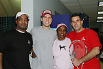 GL Ryan Brown with Maureen Rankine (Founder of TABC) and her brother Phil (L) & friend who is a pro participated at the Rock N'Pink Tennis Challenge on Nov 23, 2008 to BENEFIT Tennis Against Breast Cancer (TABC) at the Roosevelt Island Racquet Club, Roosevelt Island, New York. (Photo by Sue Coflin/Max Photos)