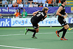 The Hague, Netherlands, June 10: Andy Hayward #5 of New Zealand tries to score a penalty corner during the field hockey group match (Men - Group B) between New Zealand and The Netherlands on June 10, 2014 during the World Cup 2014 at Kyocera Stadium in The Hague, Netherlands. Final score 1-1 (0-1) (Photo by Dirk Markgraf / www.265-images.com) *** Local caption ***