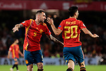 Spain's Paco Alcacer (L) and Marcos Asensio (R) celebrate goal during UEFA Nations League 2019 match between Spain and England at Benito Villamarin stadium in Sevilla, Spain. October 15, 2018. (ALTERPHOTOS/A. Perez Meca)