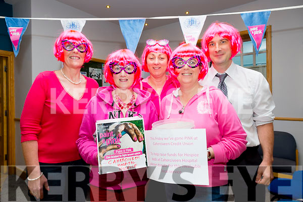 Staff at Cahersiveen went Pink on Friday raising money for the Hospice at St Anne's Hospital, Cahersiveen, pictured here l-r; Colette O'Connor, Mary Anne O'Sullivan, Sheila Coffey,Elma Shine(Manager) & John Casey.